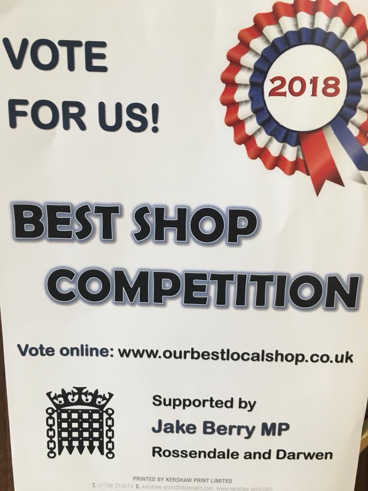 We are really excited to be nominated for Best local shop 2018!  Please vote for us to win atwww.ourbestlocalshop.co.uk  Thank you for all your support!…Continue Reading..