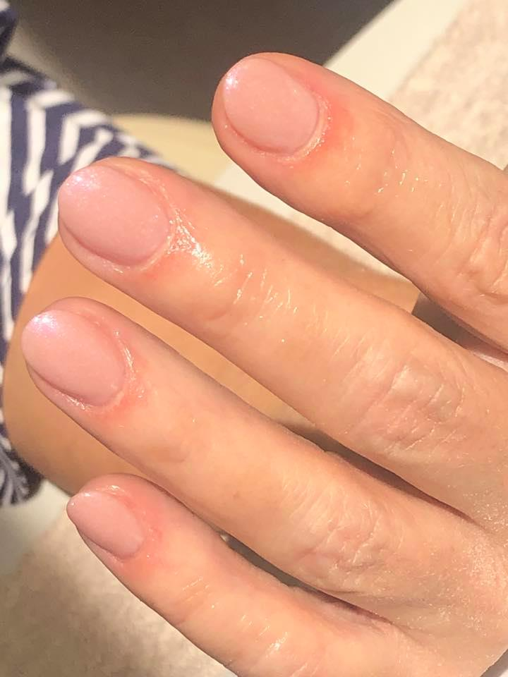 Natural acrylic nails with Shellac Fragrant Freesia by Lorna…